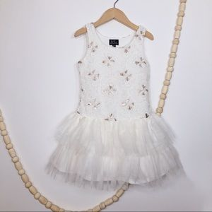 Other - GIRL'S SEQUENCE AND RUFFLES WHITE DRESS